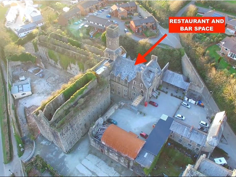 Skitched Aerial of Bodmin Jail Hotel (Restaurant Space)