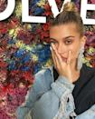 """<p>While attending Coachella in 2017, Bieber stopped by her friend Jon Boy's tattoo pop up to receive two chevrons inked on her little finger.</p><p><a href=""""https://www.instagram.com/p/BS-B33mB75E/?"""" rel=""""nofollow noopener"""" target=""""_blank"""" data-ylk=""""slk:See the original post on Instagram"""" class=""""link rapid-noclick-resp"""">See the original post on Instagram</a></p>"""
