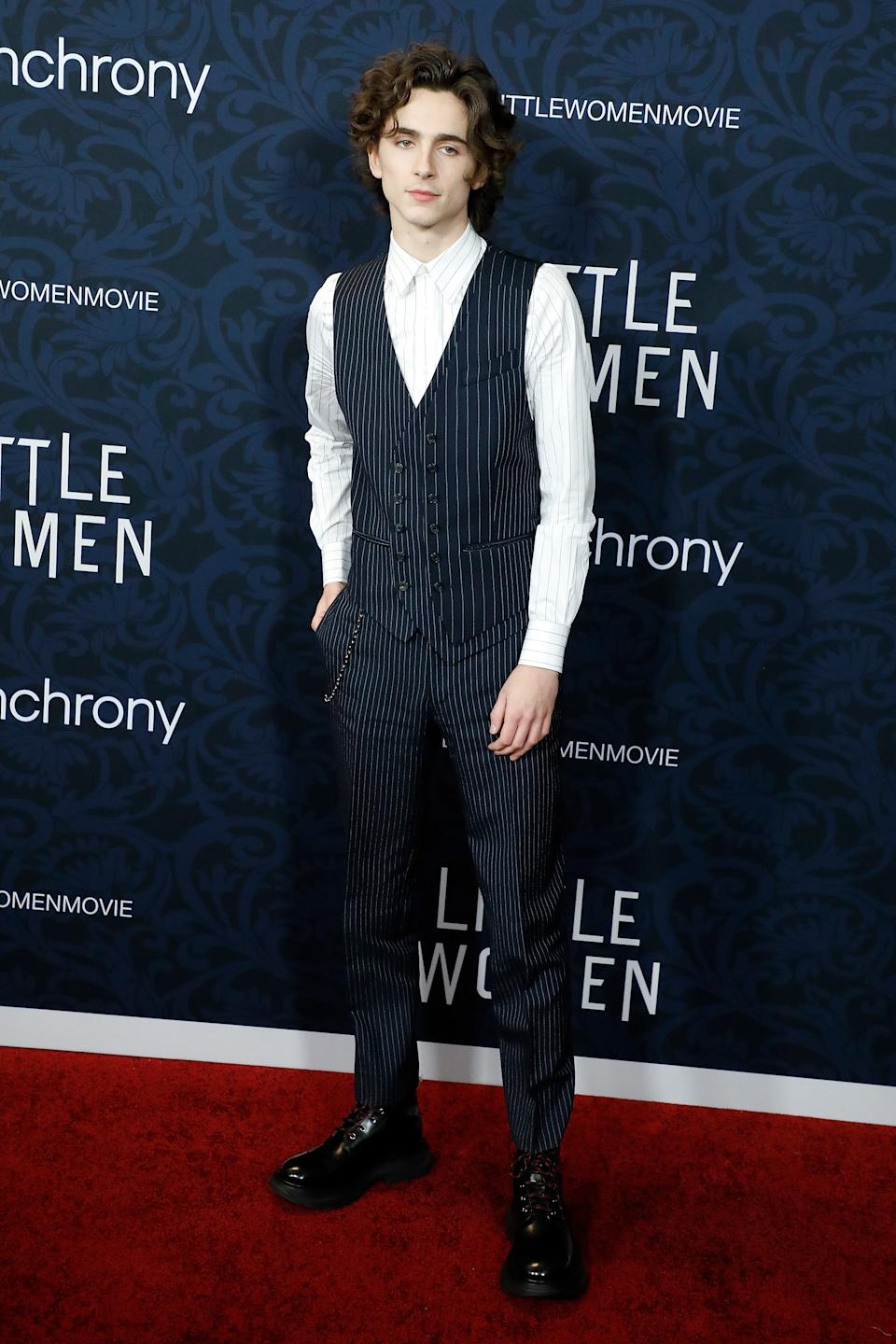 """NEW YORK, NEW YORK - DECEMBER 07: Timothee Chalamet attends the world premiere of """"Little Women"""" at Museum of Modern Art on December 07, 2019 in New York City. (Photo by Taylor Hill/WireImage,)"""