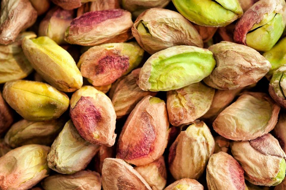 """<p>""""I love that pistachios are a complete source of plant-based protein that contains fiber and healthy fats as well. Plus, <strong>one serving is around 49 pistachios (the most out of any tree nut),</strong>"""" says Zhu. Just having to crack the shell open on pistachios can help you slow down and eat a bit more mindfully, which can lead to better portion control.</p>"""