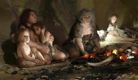 An exhibit shows the life of a neanderthal family in a cave in the new Neanderthal Museum in the northern town of Krapina