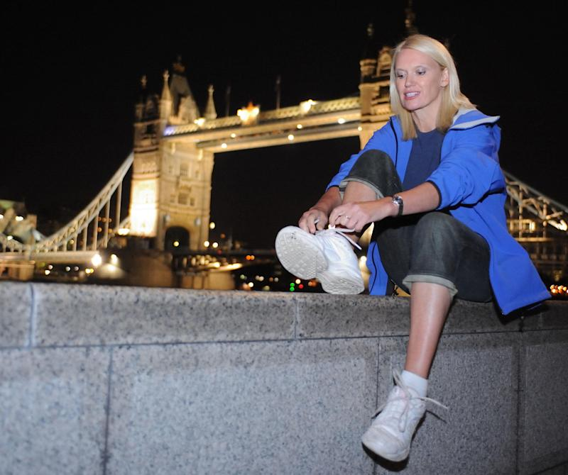 Anneka Rice prepares for the London Night Hike charity ramble through the city. Tis he hike is organised by Maggies Cancer Caring Centres, in conjunction with the Open House architecture weekend.