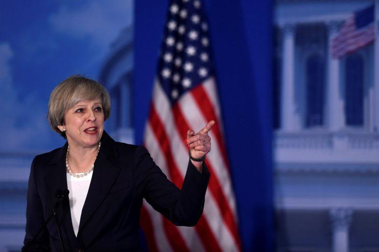 Britisih Prime Minister Theresa May speaks during the 2017