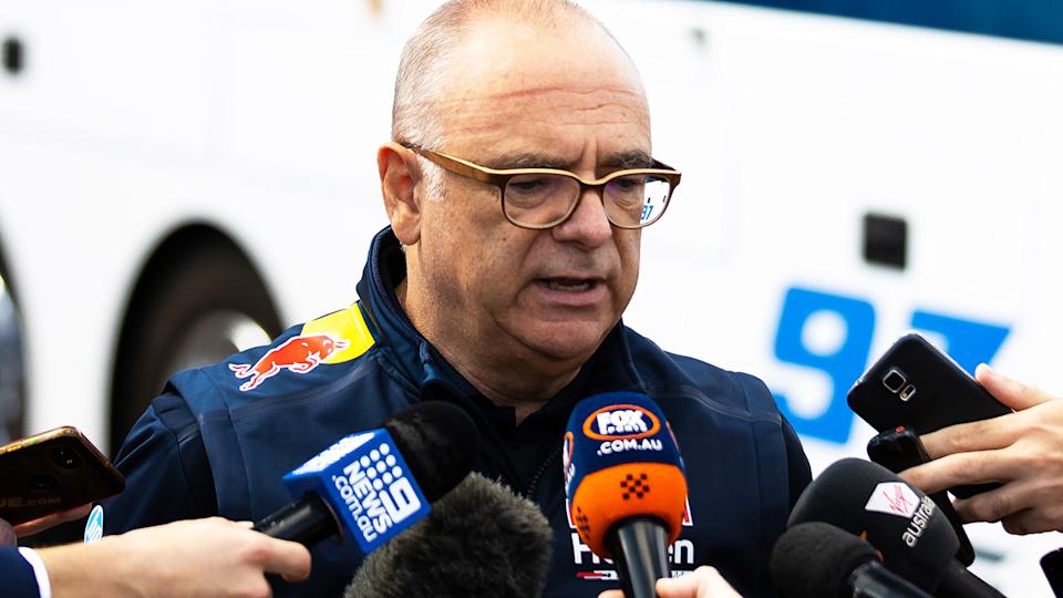 Roland Dane, pictured here speaking to the media in Adelaide ahead of the Supercars season.
