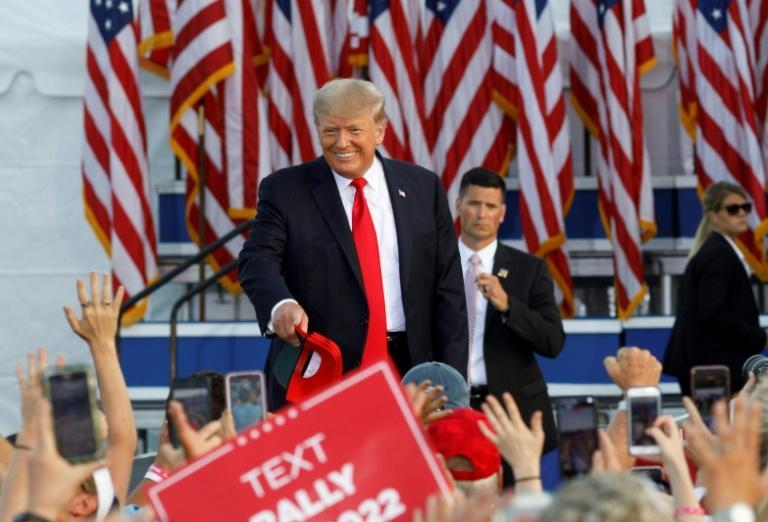 Former US president Donald Trump arriving at his first major rally since leaving the White House, one June 26 2021 in Wellington, Ohio