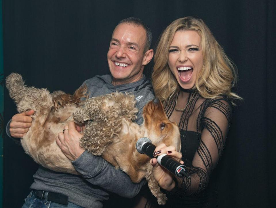 Rachel Platten (R) poses backstage with Jeremy Joseph and Jacob the dog before her performance on stage at G-A-Y Club Night at Heaven. (Jo Hale/Redferns)