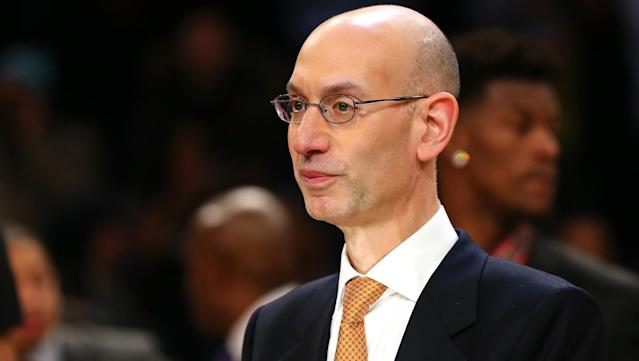 "Adam Silver laughed at <a class=""link rapid-noclick-resp"" href=""/ncaaf/players/263612/"" data-ylk=""slk:Michael Jordan"">Michael Jordan</a>'s super-team comments."