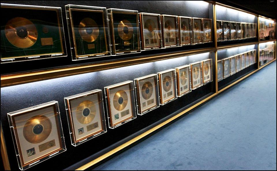 <p>Another area of Graceland that's open to the public is a long hallway plated with Elvis's golden records. </p>