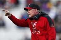 FILE - In this Oct. 13, 2018, file photo, then-Louisville head coach Bobby Petrino argues a call during the second half of an NCAA college football game against Boston College, in Boston. Petrino, a coach with a track record of on-the-field success but off-the-field embarrassments, will be the next coach at Missouri State, the university said Wednesday, Jan. 15, 2020. (AP Photo/Michael Dwyer, File)