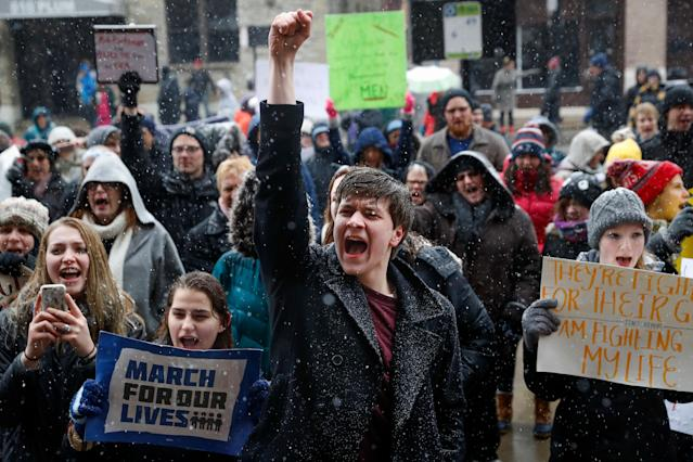 "<p>John Collins, 19, a University of Cincinnati student, cheers outside city hall during the ""March for Our Lives"" protest for gun legislation and school safety in Cincinnati. (AP Photo/John Minchillo) </p>"