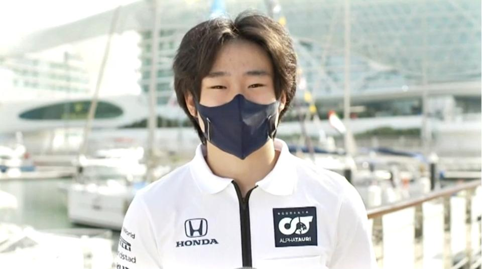 UNSPECIFIED - DECEMBER 18: In this screengrab FIA Rookie of the Year Yuki Tsunoda of Japan is presented with his award during the 2020 FIA Prize Giving on December 18, 2020. (Photo by Getty Images/Getty Images for FIA)