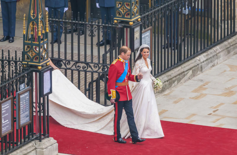 The Duchess of Cambridge wore an Alexander McQueen gown on her wedding day in 2011. (Photo: Getty)