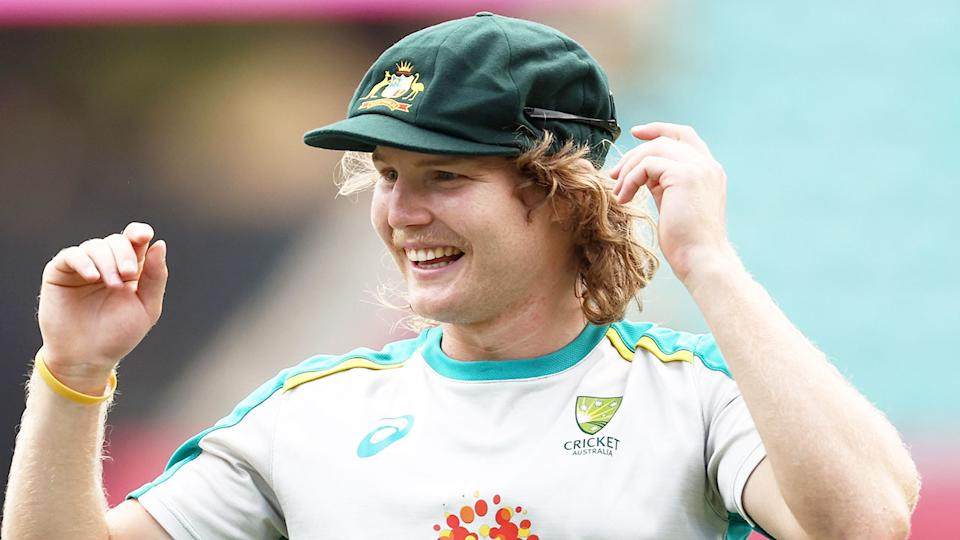 Pictured here, Will Pucovski during a training session for the Australian Test cricket team.