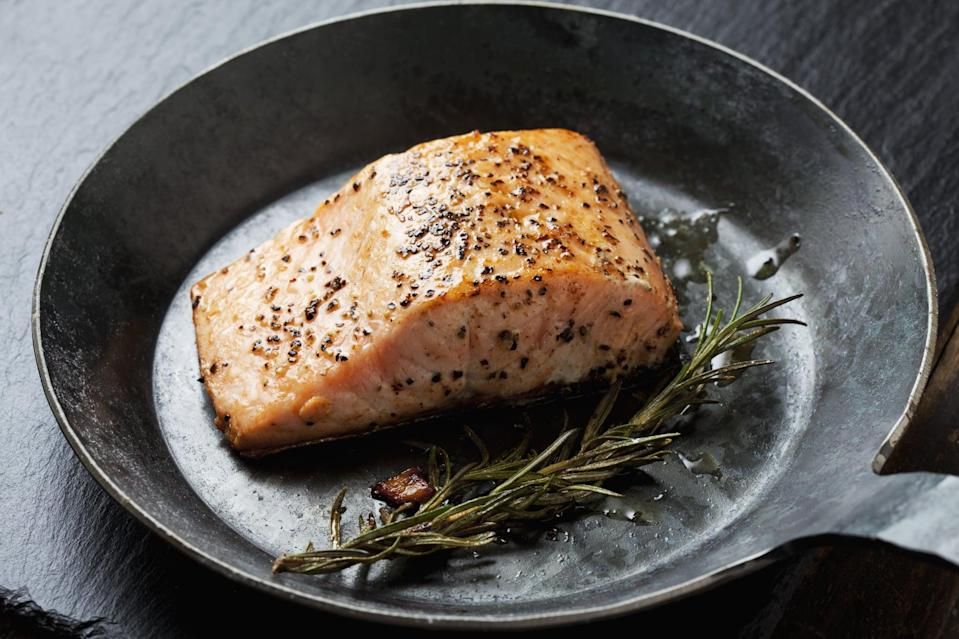 "<p>Salmon is rich in heart-healthy omega-3s, and it's an excellent source of protein, but this dish also comes with a <a href=""https://fdc.nal.usda.gov/fdc-app.html#/food-details/173686/nutrients"" class=""link rapid-noclick-resp"" rel=""nofollow noopener"" target=""_blank"" data-ylk=""slk:small boost of magnesium"">small boost of magnesium</a>. When picking your salmon, go for the safest and highest quality options. Look for the Best Aquaculture Practices (BAP) certified seal, and choose sustainably raised salmon that's low in mercury, like farm-raised salmon from Chile.</p>"