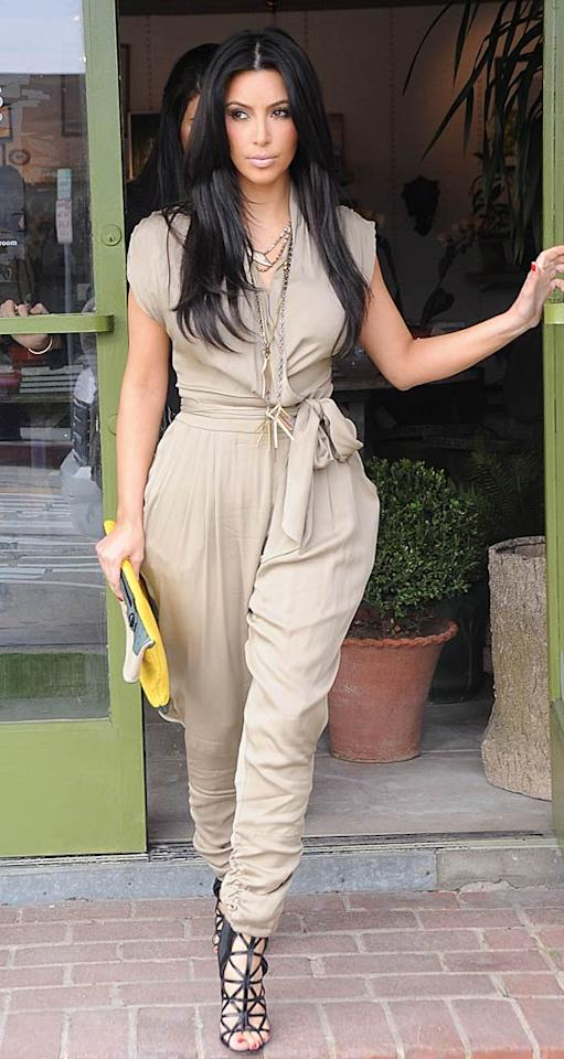 """Another celeb spotted sporting one of this season's unfortunate trends was reality star Kim Kardashian, who was seen shopping in West Hollywood, California, in this unflattering Catherine Malandrino mess. London Entertainment/<a href=""""http://www.splashnewsonline.com"""" target=""""new"""">Splash News</a> - April 7, 2011"""