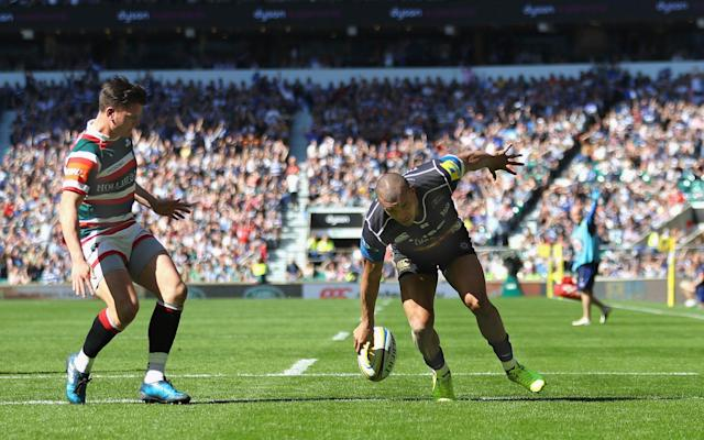<span>Jonathan Joseph touches down to score a try</span> <span>Credit: GETTY IMAGES </span>