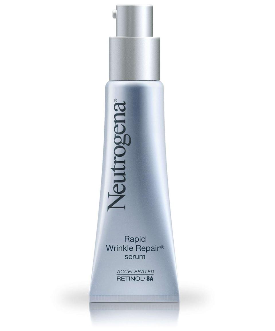 """<h3><a href=""""https://www.ulta.com/rapid-wrinkle-repair-serum?productId=xlsImpprod4180641"""" rel=""""nofollow noopener"""" target=""""_blank"""" data-ylk=""""slk:Neutrogena Rapid Wrinkle Repair Serum"""" class=""""link rapid-noclick-resp""""><strong>Neutrogena</strong> Rapid Wrinkle Repair Serum</a> </h3> <br>This drugstore serum has long been the personal go-to for dermatologist Joshua Zeichner, MD. """"Retinol is a highly unstable molecule and commonly causes irritation to the skin, so it's important to choose the right formula to make sure you're getting an effective treatment that is well-tolerated,"""" he says. """"The delivery system of this particular retinol has been well-studied and has proven effectiveness, which is why I have been using it.""""<br><br><strong>Neutrogena</strong> Rapid Wrinkle Repair Serum, $, available at <a href=""""https://www.ulta.com/rapid-wrinkle-repair-serum?productId=xlsImpprod4180641"""" rel=""""nofollow noopener"""" target=""""_blank"""" data-ylk=""""slk:Ulta Beauty"""" class=""""link rapid-noclick-resp"""">Ulta Beauty</a><br>"""