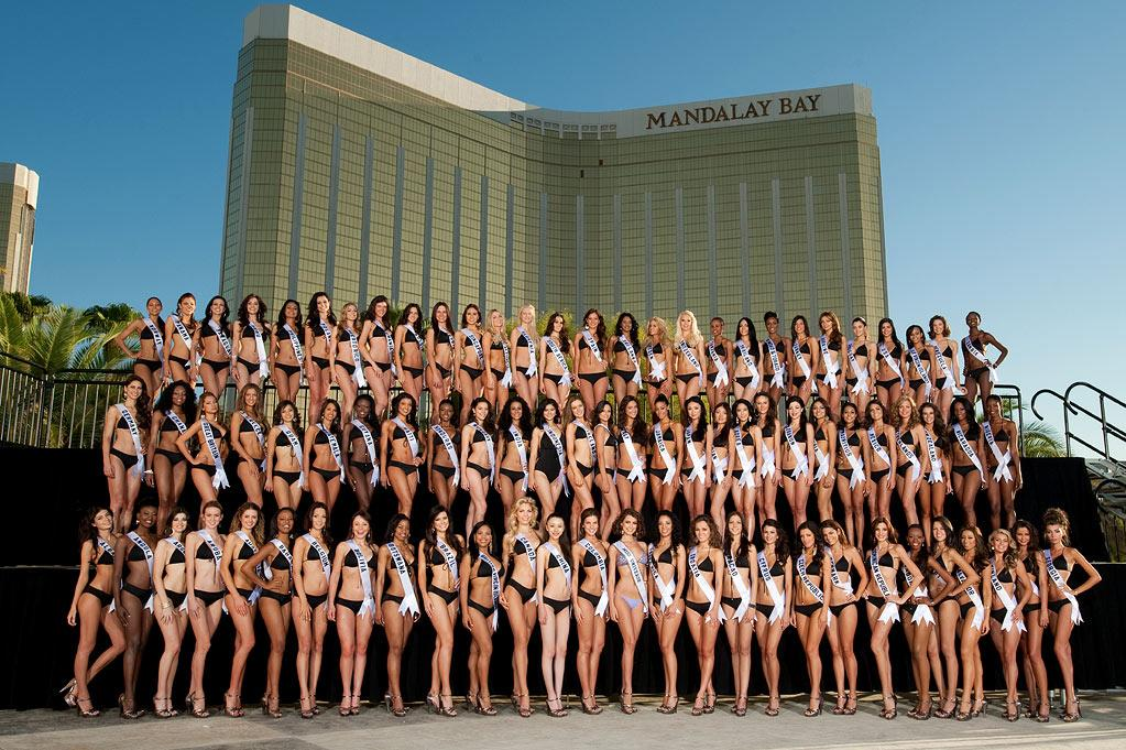 2010 Miss Universe Contestants pose for a group photo at the Mandalay Bay Hotel and Casino in Las Vegas.