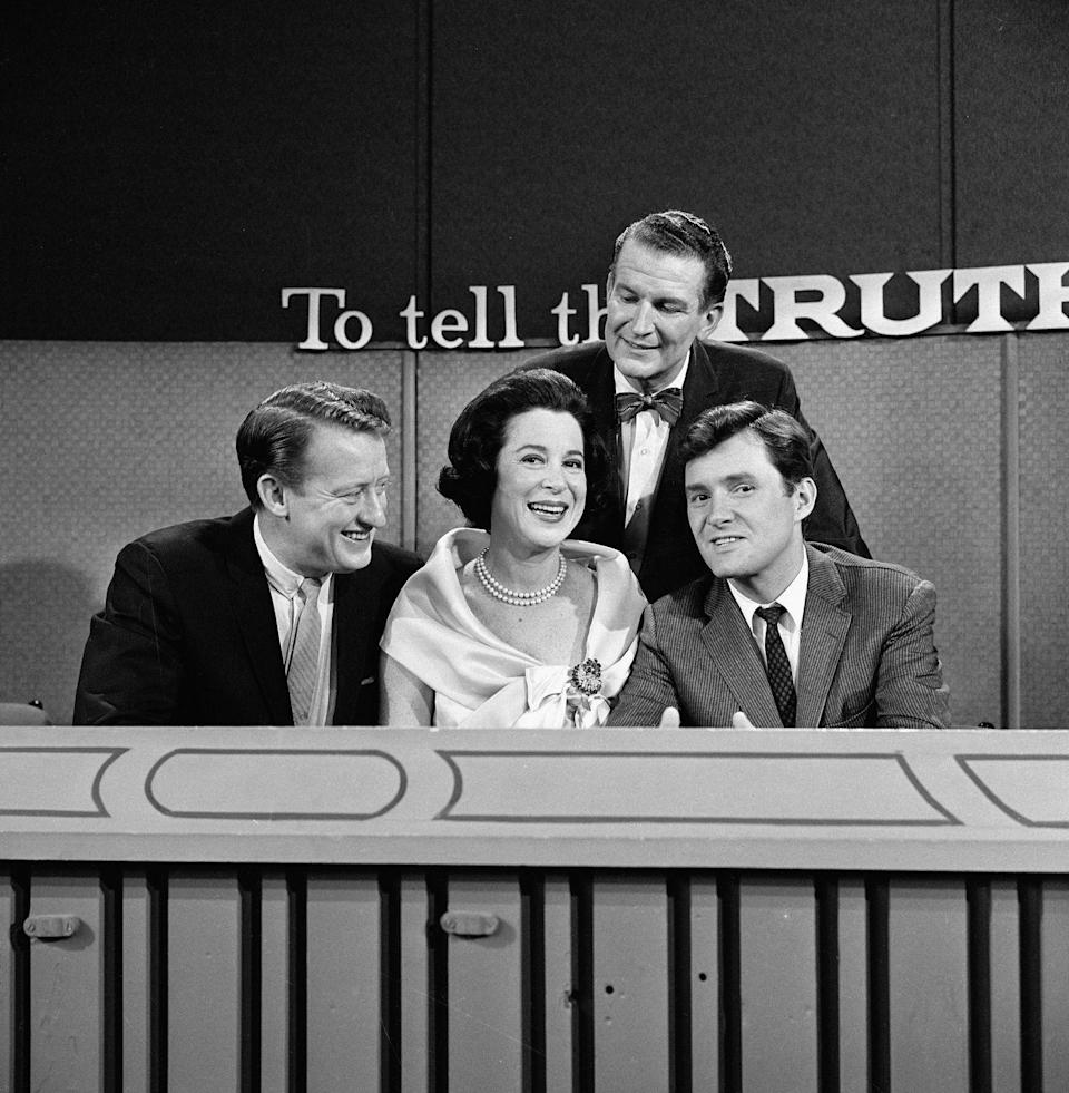 <p><em>To Tell the Truth </em>aired on networks and in syndication, starting in 1956. Bud Collyer was the original host until 1968. He was also an actor and announcer. The show went on to have other popular hosts, like Alex Trebek and John O'Hurley.</p>