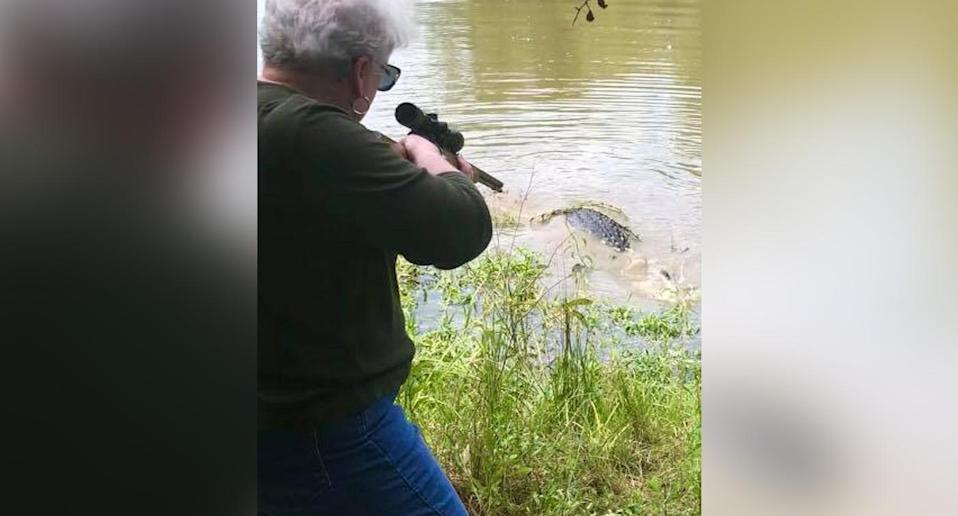 The great-grandmother killed an alligator which she suspected may have eaten her miniature horse. Source: Scott Hughes/Facebook