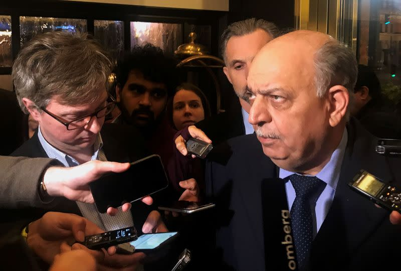 Iraqi Oil Minister Thamer Ghadhban talks to journalists in Vienna