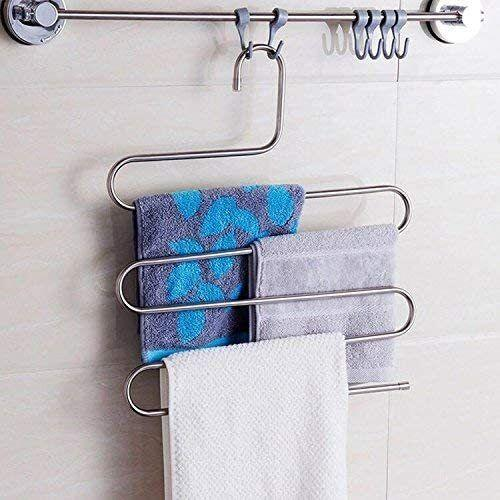 """Becauseyou can basically only fit like three pairs of pants in your drawer before you're out of room. These maximize hanging space so you can store all your pants (or towels, or anything else really) neatly in the closet and use the valuable drawer space for other clothes.<br /><br /><strong>Promising review:</strong>""""<strong>A strong and durable hanger. These look like they will last for a while</strong>. I was looking for a way to save closet space and to make storing pants better, and this is it! Also useful for color organizing."""" --<a href=""""https://amzn.to/2Sy57MU"""" target=""""_blank"""" rel=""""noopener noreferrer"""">Taylor Richardson</a><br /><br /><strong>Get a pack of four from Amazon for <a href=""""https://amzn.to/3feqTNx"""" target=""""_blank"""" rel=""""noopener noreferrer"""">$19.99</a>.</strong>"""