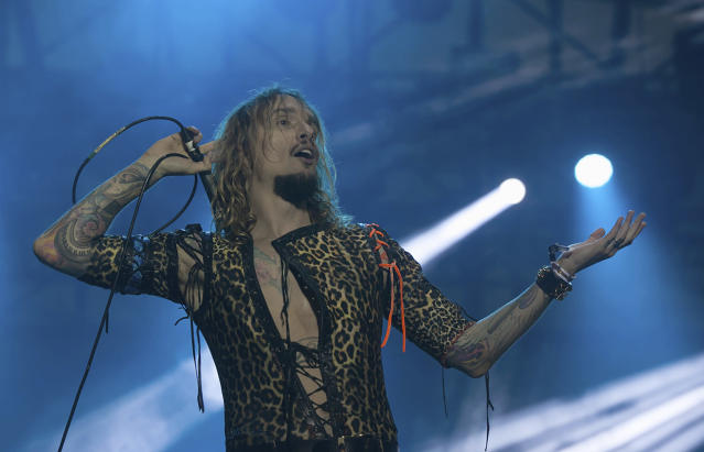Justin Hawkins of the band The Darkness performs during the Hell and Heaven music festival in Mexico City in 2018. (AP Photo/Oswaldo Ramirez)