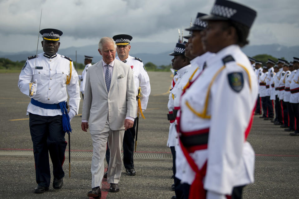 The Prince of Wales inspects the guard at Honiara International Airport in Honiara, as he prepares to depart following a three day royal visit to the Solomon Islands. PA Photo. Picture date: Monday November 25, 2019. See PA story ROYAL Charles. Photo credit should read: Victoria Jones/PA Wire (Photo by Victoria Jones/PA Images via Getty Images)