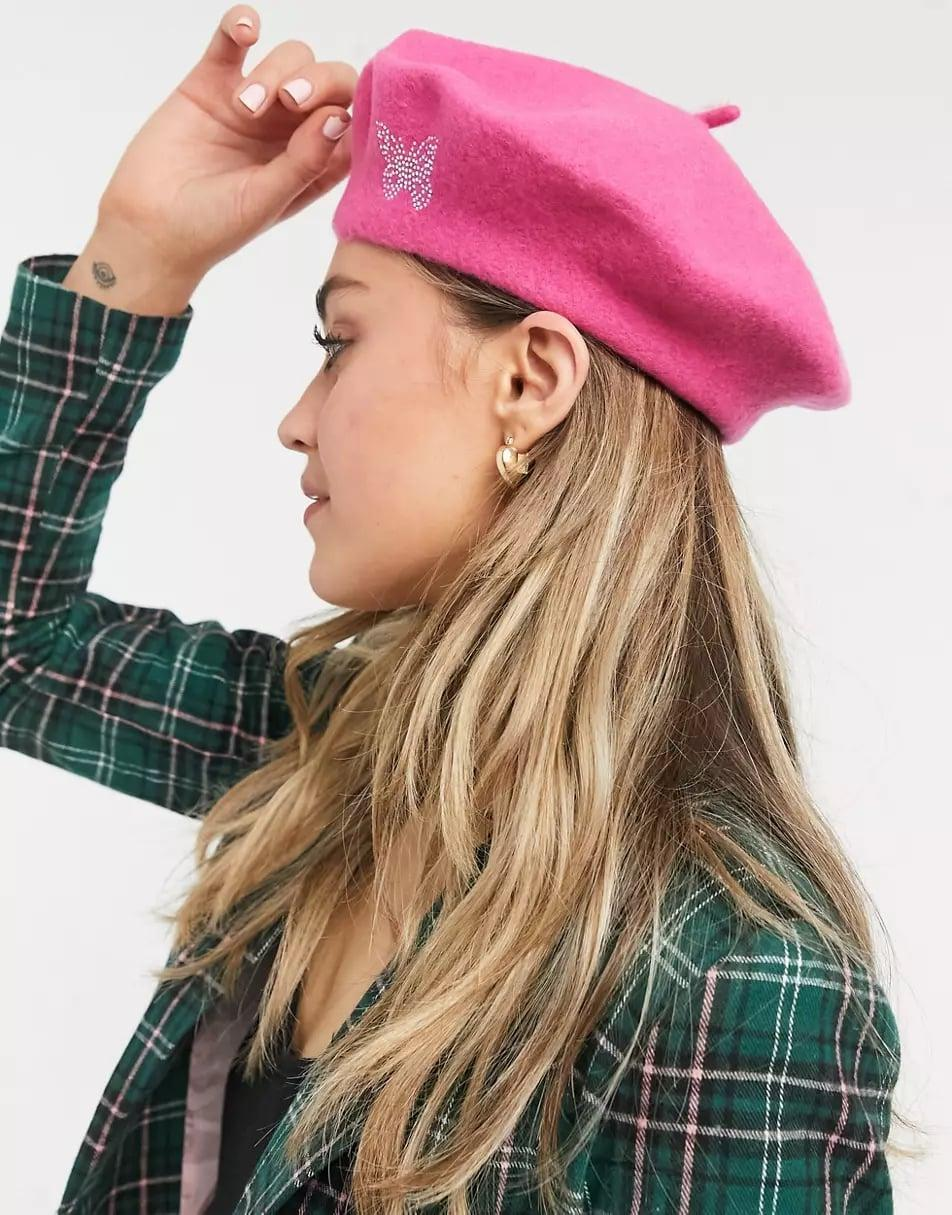 <p><span>ASOS Wool Beret with Butterfly Embroidery in Pink</span> ($18)</p>