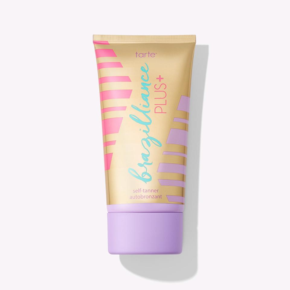 """<h3>Tarte Brazilliance PLUS+ self tanner</h3><br><strong>The Moisturizing Self Tanner</strong><br><br>Tarte might be best known for its makeup, but as it turns out, they also make a pretty excellent self-tanner, too. Come for the radiant glow that builds in four hours, stay for the hydrating aloe-infused formula that won't make your skin feel itchy or dry.<br> <br><strong>The Hype:</strong> 4.7 out of 5 stars and 242 reviews on <a href=""""https://www.ulta.com/instant-bronzer-spray-gel-sunscreen-spf-30?productId=pimprod2012277"""" rel=""""nofollow noopener"""" target=""""_blank"""" data-ylk=""""slk:Tarte Cosmetics"""" class=""""link rapid-noclick-resp"""">Tarte Cosmetics</a><br><br><strong>Reviewers Say: </strong>""""I'm a natural redhead with fair-light neutral skin and this self tanner works perfectly. Completely streak free and moisturizing enough that it doesn't stick to knees and elbows. Only needs to be reapplied weekly and is the most natural color I have found."""" — Isabel M, Tarte Reviewer<br><br><strong>Tarte</strong> Brazilliance™ PLUS+ self tanner, $, available at <a href=""""https://go.skimresources.com/?id=30283X879131&url=https%3A%2F%2Ftartecosmetics.com%2Fen_US%2Fskincare%2Fself-tanners%2Fbrazilliance-plus-self-tanner%2F793.html"""" rel=""""nofollow noopener"""" target=""""_blank"""" data-ylk=""""slk:Tarte"""" class=""""link rapid-noclick-resp"""">Tarte</a>"""
