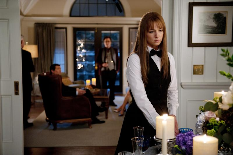 """In this publicity image released by ABC, Emily VanCamp is shown in a scene from the May 9, 2012 episode of the ABC series, """"Revenge.""""  ABC is conducting an experiment for the season finale of """"Revenge"""" with an app that makes it easier for viewers to conduct """"second screen"""" activities like talking about the show on Facebook and Twitter. The network is interested in seeing if this might make more people watch shows when they air rather than on DVRs.  (AP Photo/ABC, Colleen Hayes)"""