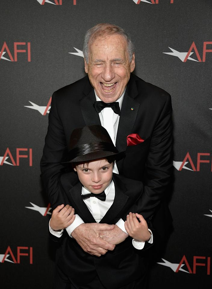 HOLLYWOOD, CA - JUNE 06: Honoree Mel Brooks and grandson Henry Brooks attend the award presentation during the 41st AFI Life Achievement Award Honoring Mel Brooks at Dolby Theatre on June 6, 2013 in Hollywood, California. Special Broadcast will air Saturday, June 15 at 9:00 P.M. ET/PT on TNT and Wednesday, July 24 on TCM as part of an All-Night Tribute to Brooks. (Photo by Frazer Harrison/Getty Images for AFI)