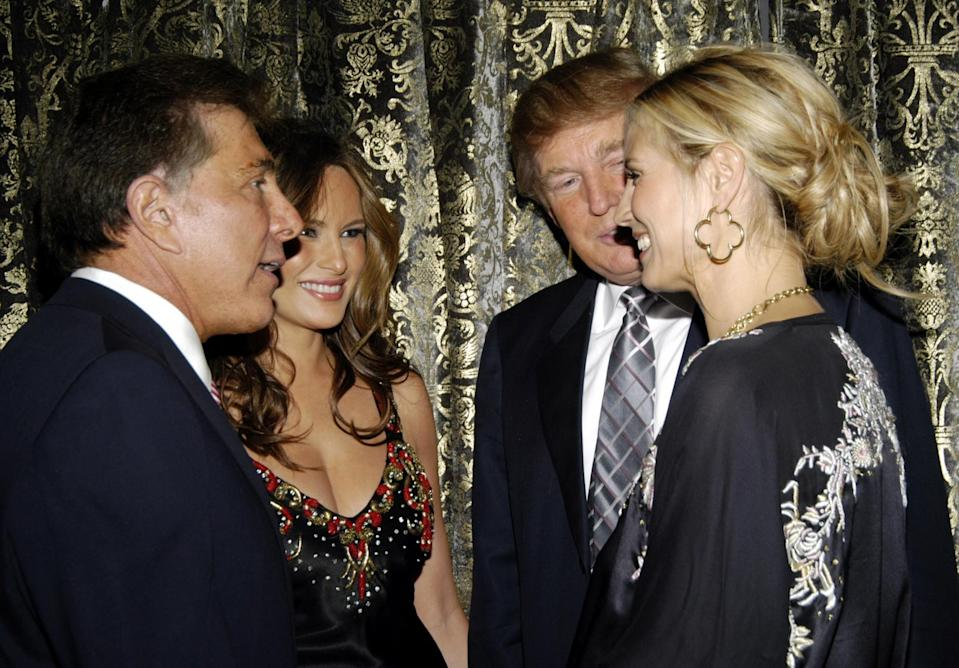 Steve Wynn, Melania Trump, Donald Trump and Heidi Klum at The Associates Committee of The Society of Memorial Sloan-Kettering Cancer Center's A WYNNING HAND at Sotheby's on May 17, 2006 in New York City. (Photo: Getty Images)