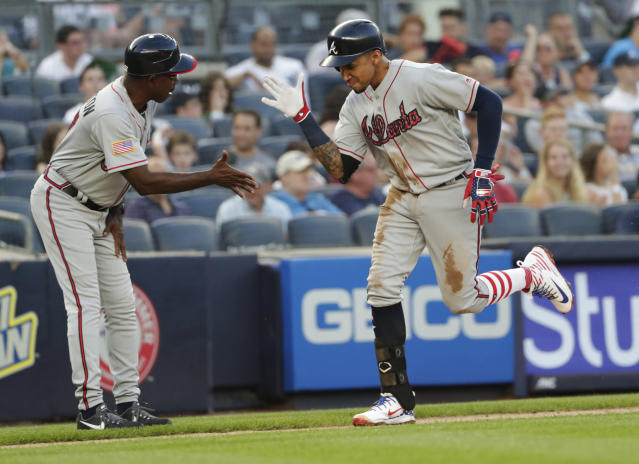 "<a class=""link rapid-noclick-resp"" href=""/mlb/players/10154/"" data-ylk=""slk:Johan Camargo"">Johan Camargo</a> has become an infield life-saver for the <a class=""link rapid-noclick-resp"" href=""/mlb/teams/atl"" data-ylk=""slk:Braves"">Braves</a> in 2018 (AP Photo/Frank Franklin II)"