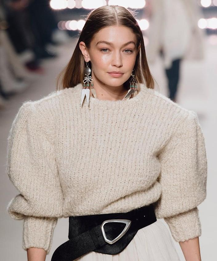 PARIS, FRANCE – FEBRUARY 27: (EDITORIAL USE ONLY) Gigi Hadid walks the runway during the Isabel Marant show as part of Paris Fashion Week Womenswear Fall/Winter 2020/2021 on February 27, 2020 in Paris, France. (Photo by Kristy Sparow/Getty Images)
