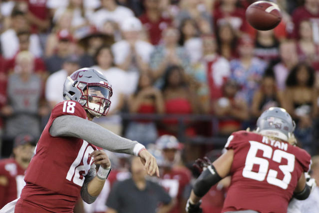 Washington State quarterback Anthony Gordon (18) throws a pass during the first half of the team's NCAA college football game against New Mexico State in Pullman, Wash., Saturday, Aug. 31, 2019. (AP Photo/Young Kwak)