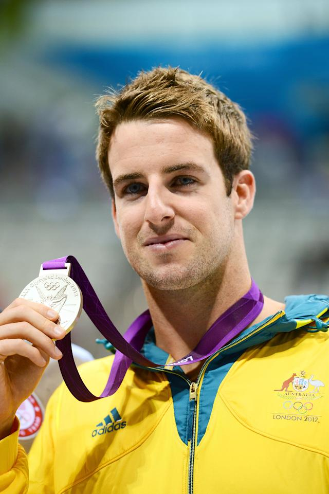 LONDON, ENGLAND - AUGUST 01: Silver medalist James Magnussen of Australia celebrates during the medal cermony for the Men's 100m Freestyle on Day 5 of the London 2012 Olympic Games at the Aquatics Centre on August 1, 2012 in London, England. (Photo by Mike Hewitt/Getty Images)