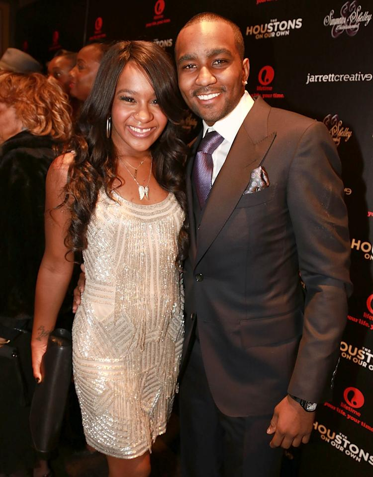 "NEW YORK, NY - OCTOBER 22:  Nick Gordon and Bobbi Kristina Brown attends ""The Houstons: On Our Own"" series premiere party at the Tribeca Grand Hotel on October 22, 2012 in New York City.  (Photo by Shareif Ziyadat/FilmMagic)"