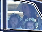 <p>The children sat with Kate Middleton, Duchess of Cambridge, in the car. (Getty) </p>