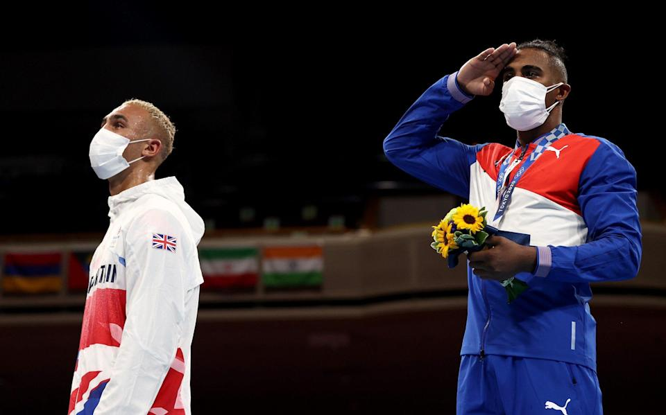 Ben Whittaker takes off silver medal in disgust during boxing ceremony: 'I felt embarrassed' - GETTY IMAGES