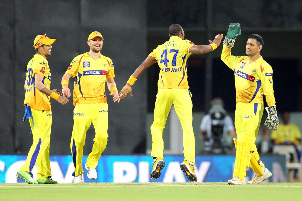 Dwayne Bravo celebrates wicket of Jacques Kallis during match 38 of the Pepsi Indian Premier League between The Chennai Superkings and the Kolkata Knight Riders held at the MA Chidambaram Stadiumin Chennai on the 28th April 2013. (BCCI)