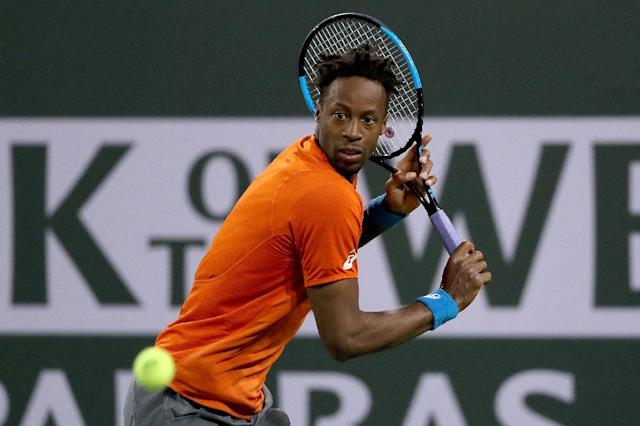 France's Gael Monfils ends the giant-killing run of Philipp Kohlschreiber with a fourth-round victory over the German at the ATP Indian Wells Masters (AFP Photo/MATTHEW STOCKMAN)