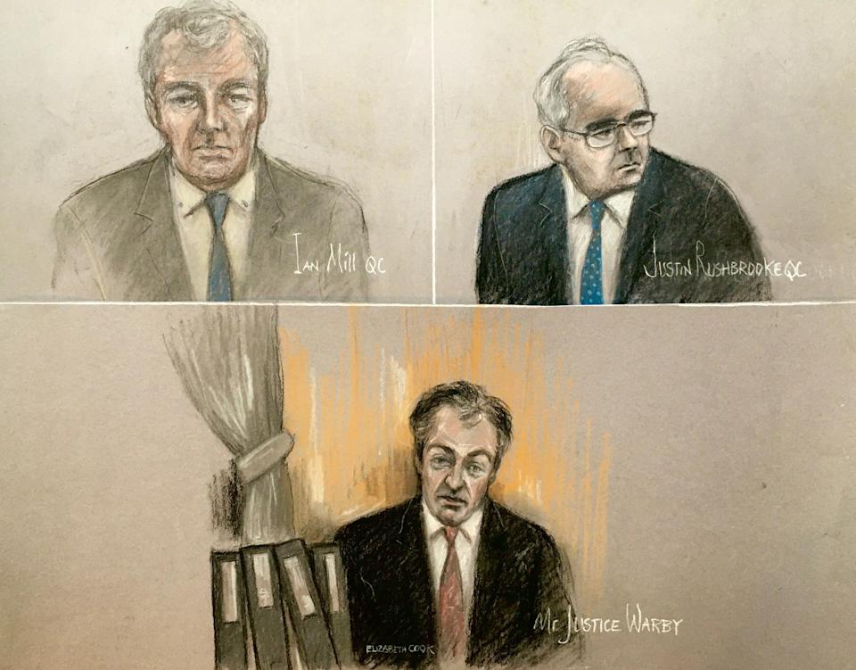 Court artist sketch by Elizabeth Cook of Ian Mill QC (top left), Justin Rushbrooke QC (top right) and judge Mr Justice Warby (bottom), at the Royal Courts of Justice, London, during the Duchess of Sussex's High Court privacy action against Associated Newspapers Limited (ANL) for the publication of a handwritten letter to her estranged father, Thomas Markle. Picture date: Tuesday January 19, 2021.