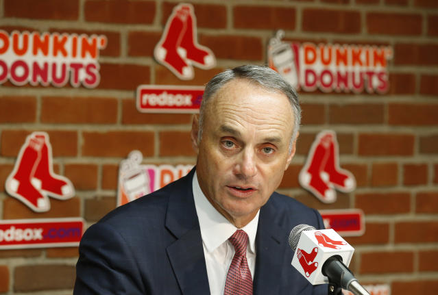<p> Baseball Commissioner Rob Manfred speaks during a news conference at Fenway Park before a baseball game between the Boston Red Sox and the Toronto Blue Jays in Boston on Tuesday, Sept. 5, 2017. (AP Photo/Winslow Townson) </p>