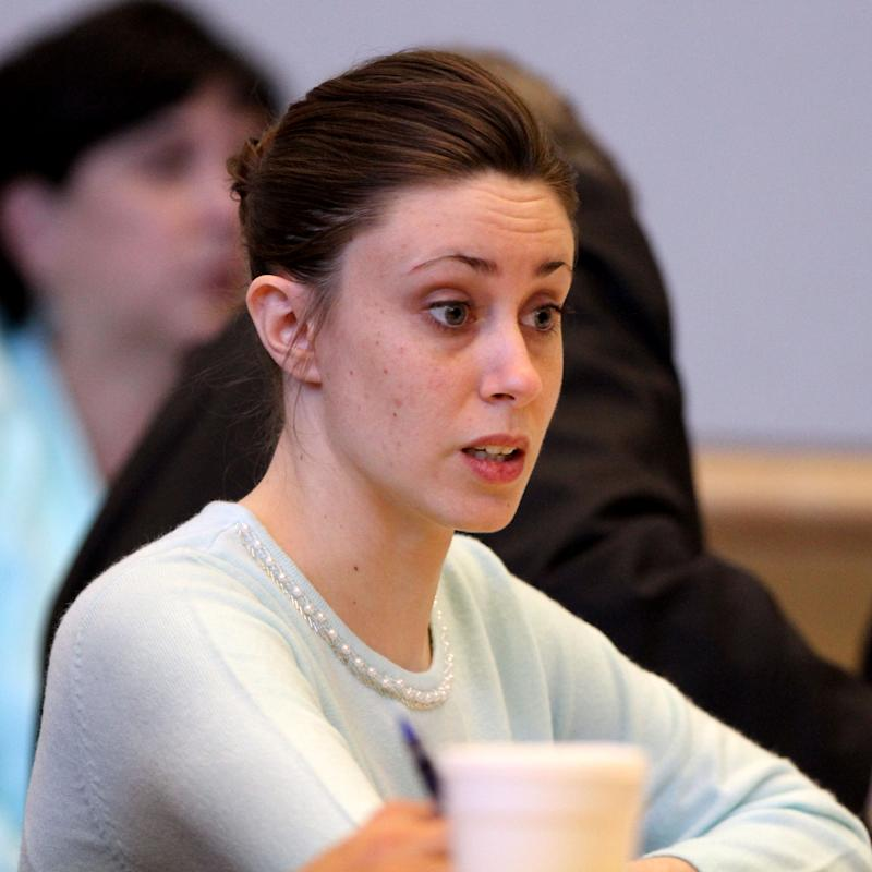 Casey Anthony reacts as a potential juror tells Ninth circuit chief judge Belvin Perry that he thinks Anthony is guilty in the courtroom at the Pinellas County Criminal Justice Center Monday, May 9, 2011 on the first day of jury selection for her trial in Clearwater, Fla. The trial of 25-year-old Anthony, who is charged with murdering her daughter, will take place in Orlando, but jurors are being selected outside the Orlando area because of intense media coverage. (AP Photo/Joe Burbank, Pool)