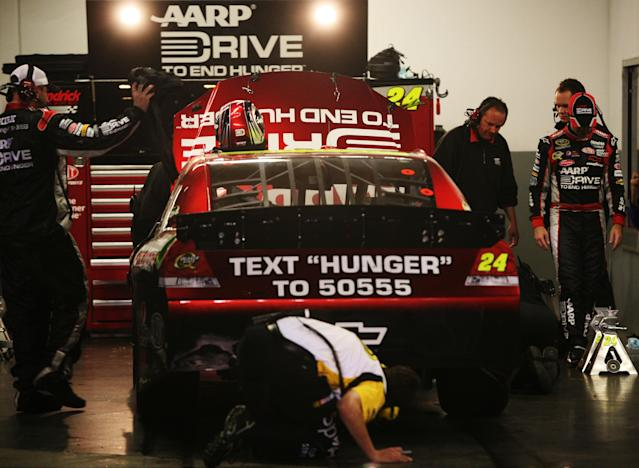 DAYTONA BEACH, FL - FEBRUARY 27: Tthe #24 Drive to End Hunger Chevrolet driven by Jeff Gordon sits in the garage after engine failure during the NASCAR Sprint Cup Series Daytona 500 at Daytona International Speedway on February 27, 2012 in Daytona Beach, Florida. (Photo by Jerry Markland/Getty Images for NASCAR)