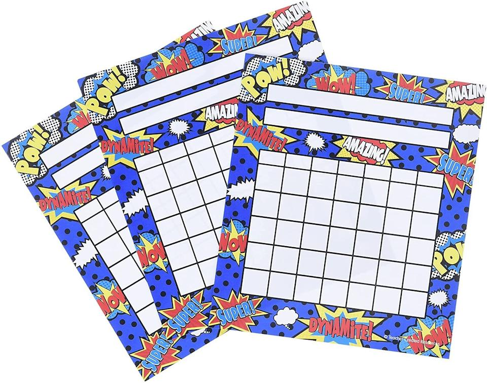 """You can customize this with stickers, markers and more. No matter what you use, this eye-catching reminder will be there when your kids deserve recognition for a job well done.<br /><br /><strong>Promising review:</strong>""""These are great in the classroom for students but also at home with my own children.<strong>At home, we use them to stamp off when they've completed chores</strong>(once they complete a sheet, they can cash it out)."""" —<a href=""""https://www.amazon.com/gp/customer-reviews/R2AVLCKRY9Y9QI?t=&linkCode=ll2&tag=huffpost-bfsyndication-20&linkId=703c1a2818fe53ba72da40854e63aaef&language=en_US&ref_=as_li_ss_tl"""" target=""""_blank"""" rel=""""nofollow noopener noreferrer"""" data-skimlinks-tracking=""""5750537"""" data-vars-affiliate=""""Amazon"""" data-vars-href=""""https://www.amazon.com/gp/customer-reviews/R2AVLCKRY9Y9QI?tag=bfmal-20&ascsubtag=5750537%2C17%2C33%2Cmobile_web%2C0%2C0%2C0"""" data-vars-keywords=""""cleaning,fast fashion"""" data-vars-link-id=""""0"""" data-vars-price="""""""" data-vars-retailers=""""Amazon"""">Natalie</a><br /><br /><strong>Get it from Amazon for<a href=""""https://www.amazon.com/Teacher-Created-Resources-Superhero-Incentive/dp/B00S2XNC7U?&linkCode=ll1&tag=huffpost-bfsyndication-20&linkId=920fbff0904f7f75b4ef3bae2a97313c&language=en_US&ref_=as_li_ss_tl"""" target=""""_blank"""" rel=""""nofollow noopener noreferrer"""" data-skimlinks-tracking=""""5750537"""" data-vars-affiliate=""""Amazon"""" data-vars-asin=""""B00S2XNC7U"""" data-vars-href=""""https://www.amazon.com/dp/B00S2XNC7U?tag=bfmal-20&ascsubtag=5750537%2C17%2C33%2Cmobile_web%2C0%2C0%2C16107985"""" data-vars-keywords=""""cleaning,fast fashion"""" data-vars-link-id=""""16107985"""" data-vars-price="""""""" data-vars-product-id=""""20117388"""" data-vars-product-img=""""https://m.media-amazon.com/images/I/61JbNoufz6L.jpg"""" data-vars-product-title=""""Teacher Created Resources Superhero Incentive Charts Pack (5646)"""" data-vars-retailers=""""Amazon"""">$4.59</a>.</strong>"""