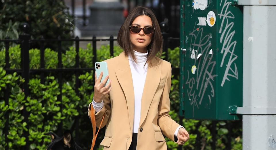 Emily Ratajkowski has shown off the impressive results of her DIY chop in a new Instagram post (Getty Images)