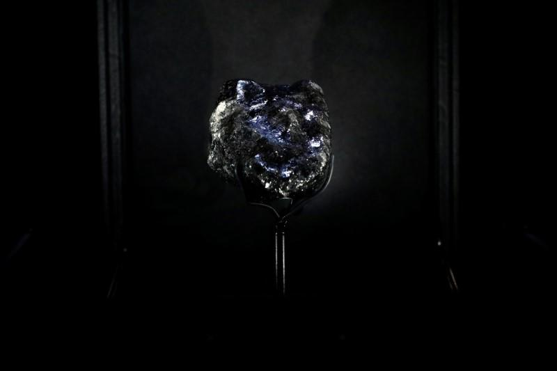 """A recently purchased """"Sewelo diamond"""" is displayed during a press preview at the Louis Vuitton store in Paris"""