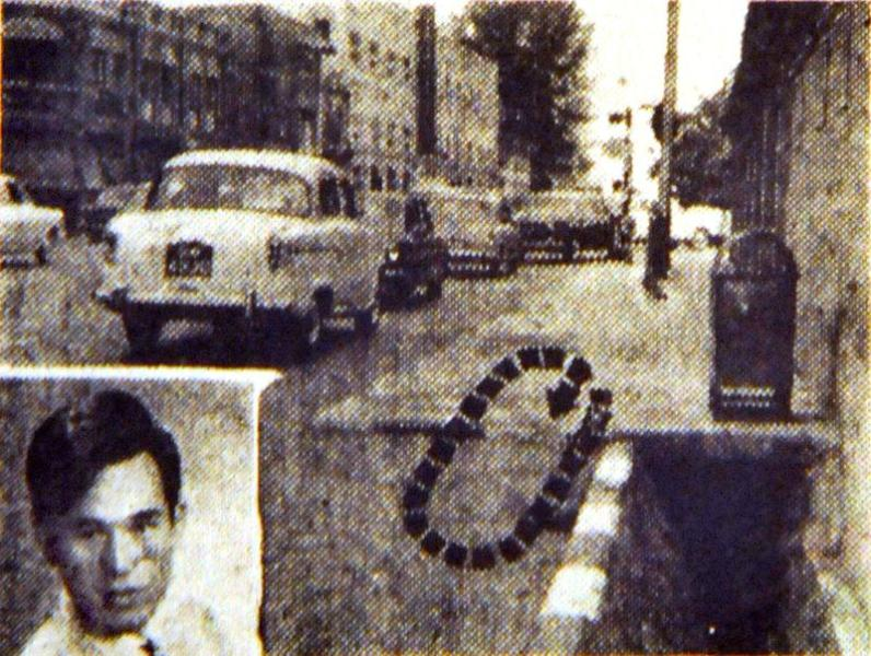 A newspaper clipping showing the area near the junction of Bras Basah and North Bridge Road where the 1969 attack took place in Singapore